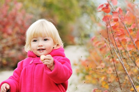bright blonde baby girl walking in fall park photo