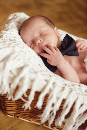 newborn boy wearing bow tie laying in the basket Stock Photo - 18530963
