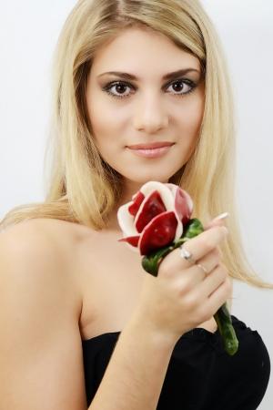 hazel eyes: blonde bright girl with hazel eyes and lollipop Stock Photo