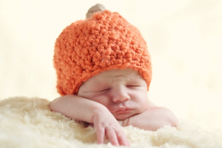 funny newborn wearing pumpkin hat photo