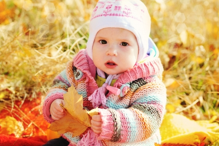 baby in fall time sitting under with leaf photo