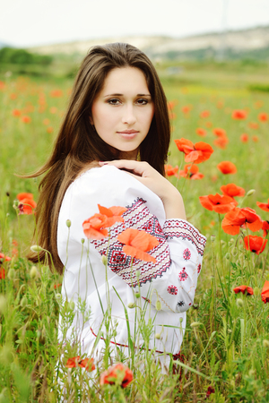 eyes hazel: ukainian girl in poppy field