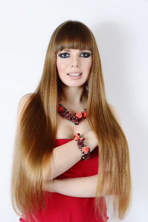 fashion young woman with long hair photo