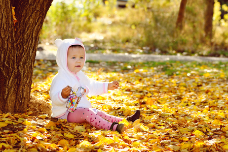 bright fall for baby girl photo