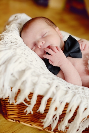newborn boy wearing bow tie laying in the basket Stock Photo - 22404116