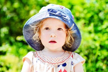 summer portrait of toddler girl photo