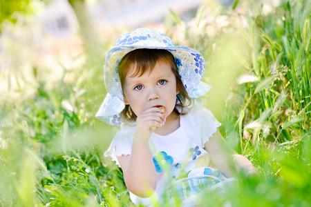 summer picnic of toddler girl photo