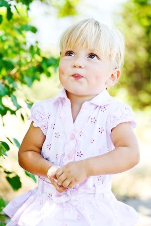 toddler girl: sweet toddler girl wearing pink dress