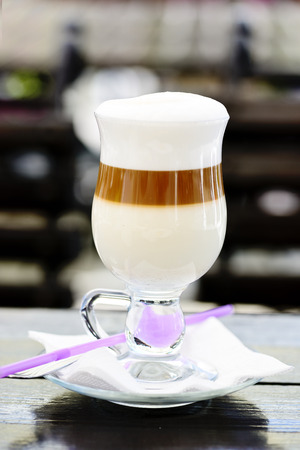 cafe latte  in the glass photo