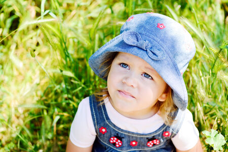 two years old summer toddler girl photo