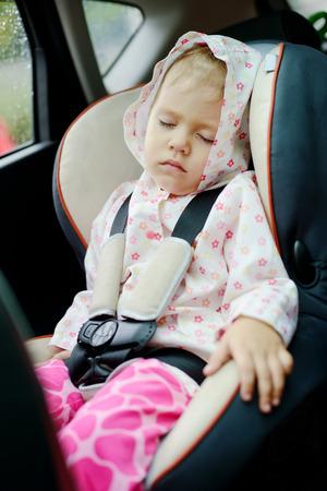toddler girl sleeping in car seat Stock Photo - 27792226