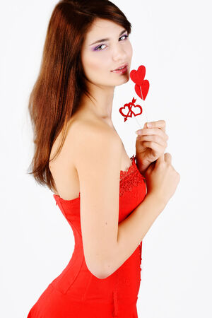 loving teen girl with hearts photo