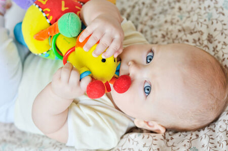 teether: sweet baby biting a toy