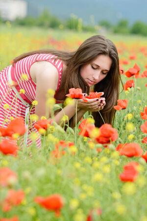 adult rape: brunette girl in poppy and rape field