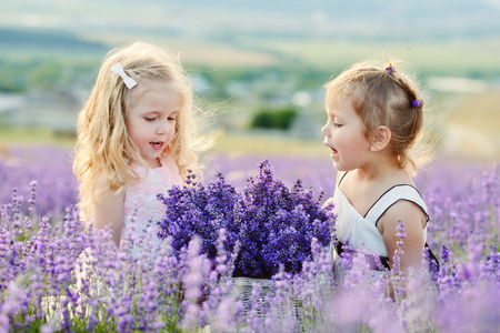 two happy girls in lavender field Stock Photo