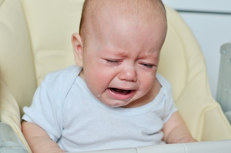 crying eyes: little baby is crying and sitting on the chair
