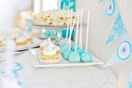 dessert buffet: Cake, cakepops and so on for  birthday party, selective focus Stock Photo
