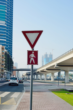 give way: Give way to pedestrians sign in UAE