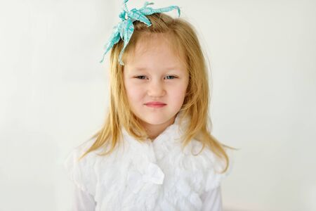 pretty little girl: a portrait of the sweet little  girl Stock Photo