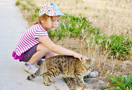little girl petting  alley cat on the street Stock Photo