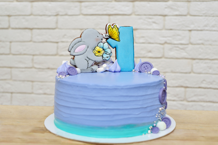 wonderful cake for the first birthday with bunny Stock Photo