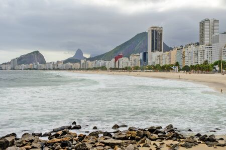 Copacabana beach in Rio de Janeiro, Brazil. Cloudy and windy day Archivio Fotografico