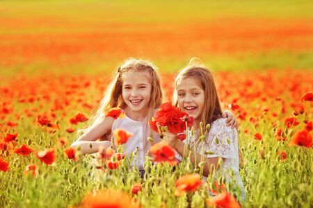 two happy girls laughing in the poppy field Archivio Fotografico