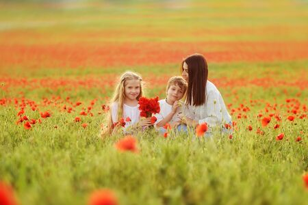 Mother, son and daughter in the field of red poppies. Archivio Fotografico