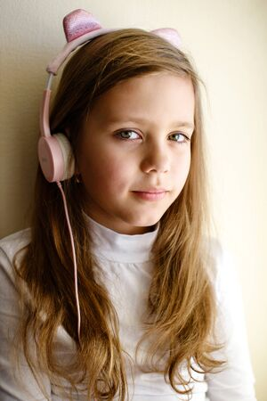 Girl Listening To Music at the home