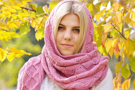 teen blonde girl in the fall time