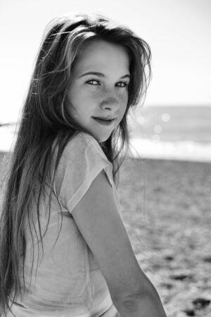 portrait of cute teenage girl in summer time