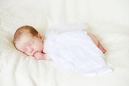 sleeping angelic newborn with the feather wings Archivio Fotografico