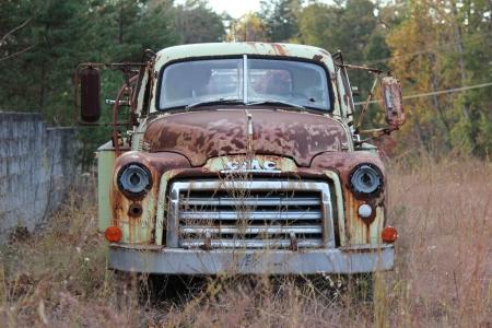 Hidnite, North Carolina - November 02, 2012: 1950 GMC Firetruck parked at All-American Service Center Inc.