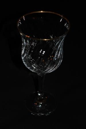 Single Wine Glass On Black Background Stock Photo