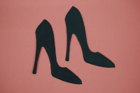 paper cut out: High heel paper cut out with pink background