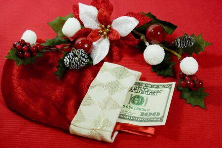 largesse: Crisp 100 dollars in Christmas stocking
