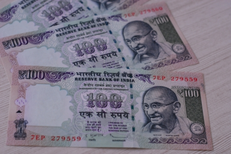 rupees: Indian rupees - 100 rupee notes