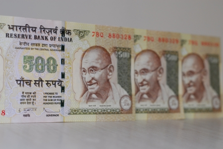 Indian rupees - 500 rupee notes photo