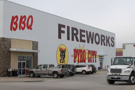 Eagleville, MO  US - Sept 9, 2019: The outside of a large fireworks store. Editorial
