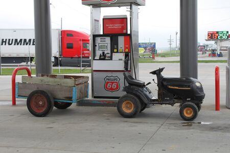Eagleville, MO  US - Sept 9, 2019: A small tractor at a gas station. Editorial