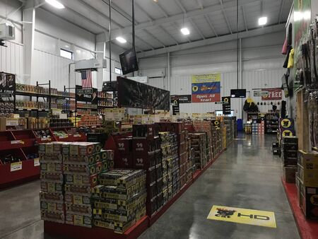 Eagleville, MO  US - Sept 9, 2019: The inside of a large fireworks store.