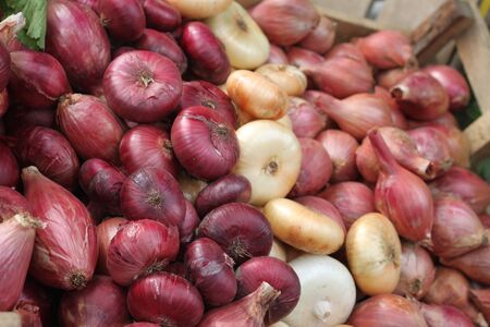 A market display of fresh red, white and purple onions.