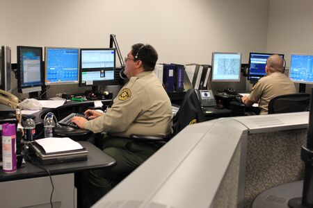 Nogales, Ariz.  US - March 8, 2011: The dispatch center at the brand new Santa Cruz County Sheriffs Office dispatch office just before it opens for full operations. Editorial