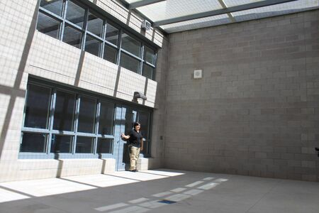 Nogales, Ariz.  US - March 8, 2011: The exercise yard at the brand new Santa Cruz County Sheriffs Office dispatch office just before it opens for full operations. Editorial