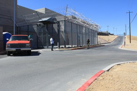 Nogales, Ariz.  US - March 8, 2011: The exterior of the new Santa Cruz County Sheriffs Office jail facility just before its opening.