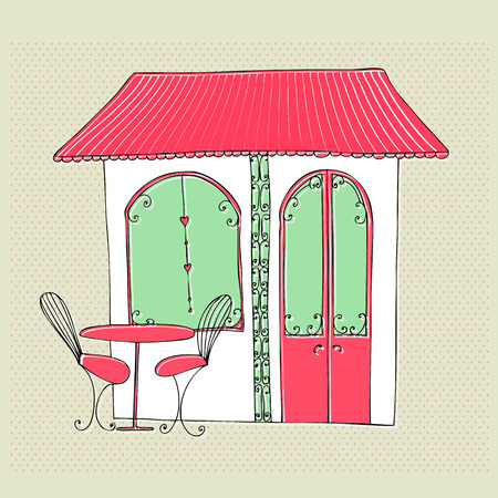 outdoor dining: illustrated cute street cafe