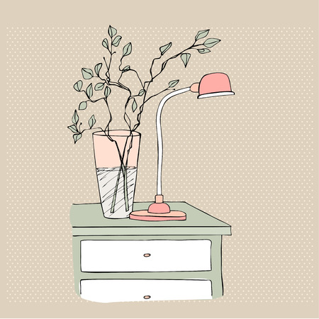 bedside: illustrated bedside table with vase and lamp