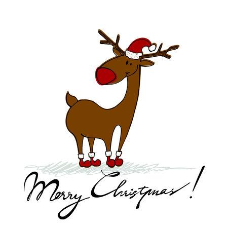 renos de navidad: estilo lindo elaborado por fondo de Navidad con el reno Foto de archivo