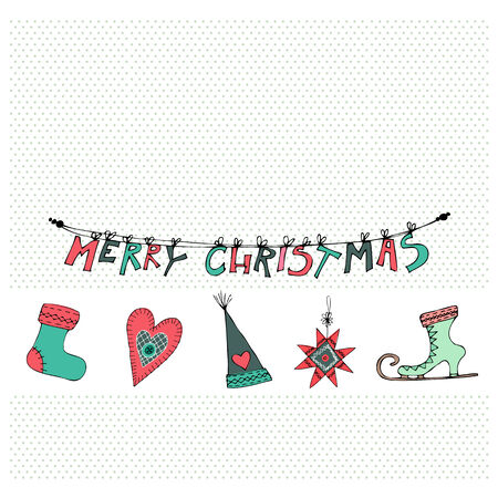 illustrated christmas cards design with cute christmas elements stock photo 31036477