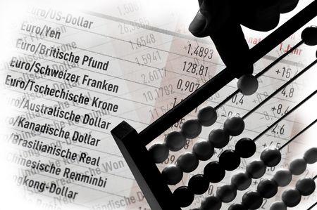 finanzen: Devisen rechnen Stock Photo